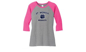 St. Monica Pink Baseball T-Shirt (Adult Sizes Only)